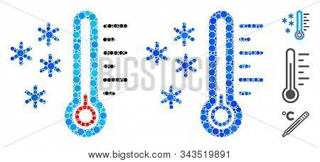 Frost Temperature Mosaic Of Circle Elements In Different Sizes And Color Tints, Based On Frost Tempe
