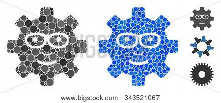 Service Gear Glad Smile Composition Of Round Dots In Different Sizes And Color Tints, Based On Servi