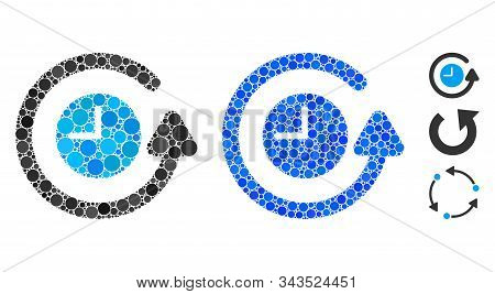 Restore Clock Composition Of Small Circles In Variable Sizes And Color Hues, Based On Restore Clock