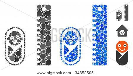 Baby Height Mosaic Of Round Dots In Variable Sizes And Shades, Based On Baby Height Icon. Vector Dot