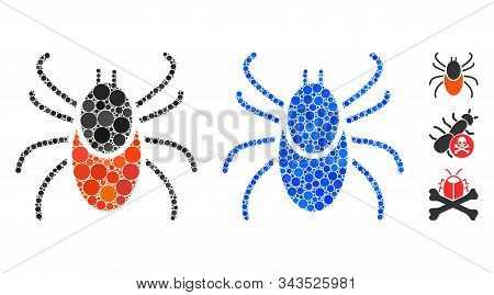 Mite Tick Composition Of Small Circles In Different Sizes And Shades, Based On Mite Tick Icon. Vecto