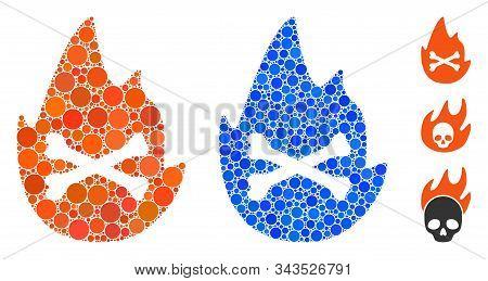 Hellfire Flame Mosaic Of Filled Circles In Various Sizes And Color Hues, Based On Hellfire Flame Ico