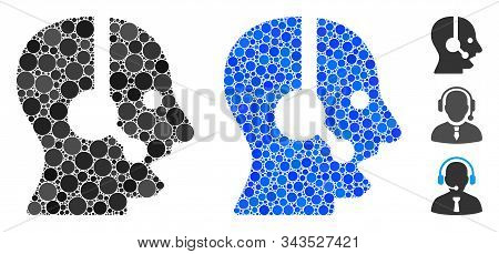 Operator Mosaic Of Small Circles In Different Sizes And Color Hues, Based On Operator Icon. Vector S