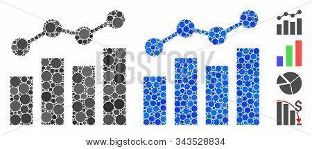 Stats Charts Mosaic Of Small Circles In Various Sizes And Color Tints, Based On Stats Charts Icon. V