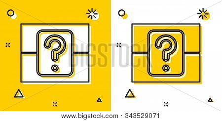 Black Mystery Box Or Random Loot Box For Games Icon Isolated On Yellow And White Background. Questio