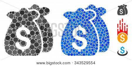 Funds Composition Of Round Dots In Different Sizes And Color Tinges, Based On Funds Icon. Vector Dot