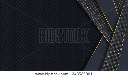 Carbon Luxury Abstract Background With Black Overlap Layers. Texture Carbon With Luxury Golden Glitt