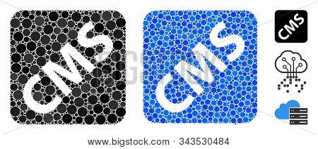Cms Mosaic Of Round Dots In Different Sizes And Shades, Based On Cms Icon. Vector Round Dots Are Com