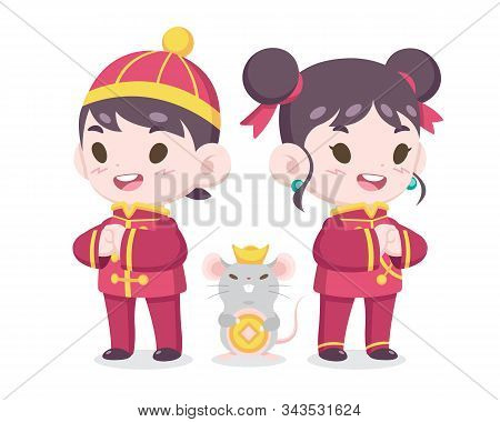 Year Of A Rat : Cute Cartoon Style Chinese Boy And Girl In Traditional Costume With A Rat Illustrati