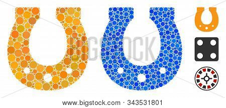 Lucky Horseshoe Mosaic Of Small Circles In Various Sizes And Color Tones, Based On Lucky Horseshoe I