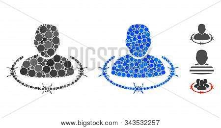 Captured Man Composition Of Round Dots In Various Sizes And Color Tinges, Based On Captured Man Icon