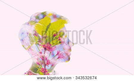 Eco Friendly Bio Universe Life Energy Concept. Double Multiply Exposure Beautiful Woman Head Silhoue