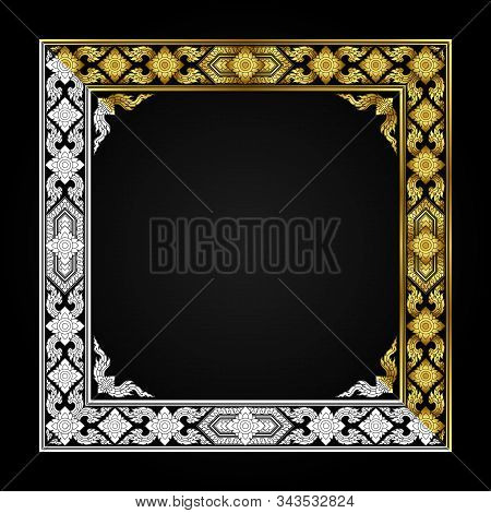 Picture Frame, Corner, Thai Pattern, Antique Template, Gold And White Color, Decorative Design In Th