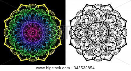 Applied Thai Art Pattern In Mandala Style In The 8-petal Flower. Gradient Vector Illustration From Y