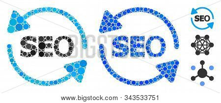 Seo Process Mosaic Of Spheric Dots In Various Sizes And Color Tints, Based On Seo Process Icon. Vect
