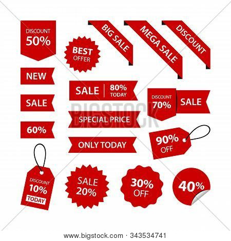 Set Discounts Percent Stickers Red Labels Ribbon Price Tag Corner Variation Vector Designs. Big Sale