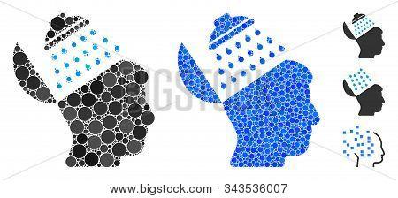 Propaganda Brain Shower Mosaic Of Round Dots In Different Sizes And Shades, Based On Propaganda Brai