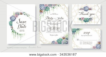 Greenery, Succulent And Branches Wedding Invitation Card, Save The Date, Thank You, Rsvp Template. V