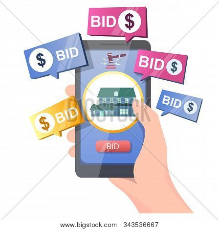 Real Estate Auction Online Vector Concept For Web Banner, Website Page