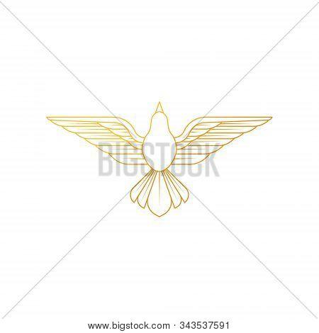 Dove Logo Icon Vector. Abstract Flying Dove Logo Elegant Silhouette Design Vector Line Art Style.
