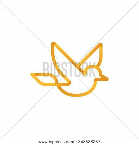 Dove Logo Icon Vector. Abstract Flying Dove Logo Elegant Silhouette Design Vector Line Art Style.