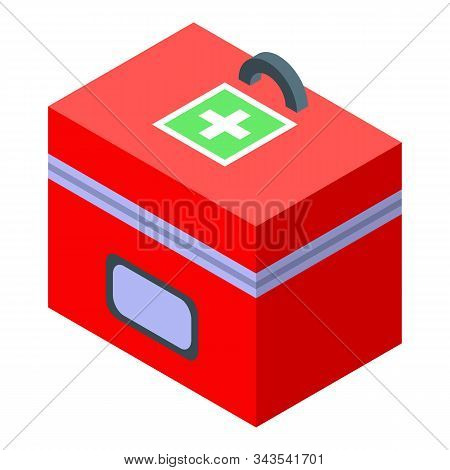 First Aid Kit Box Icon. Isometric Of First Aid Kit Box Vector Icon For Web Design Isolated On White