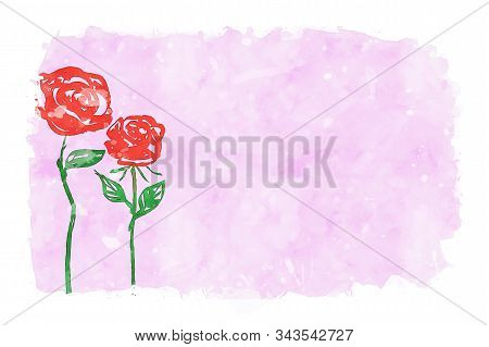 Two Red Roses On Pink Watercolor Background, Watercolor Painting For Valentine's Day Card