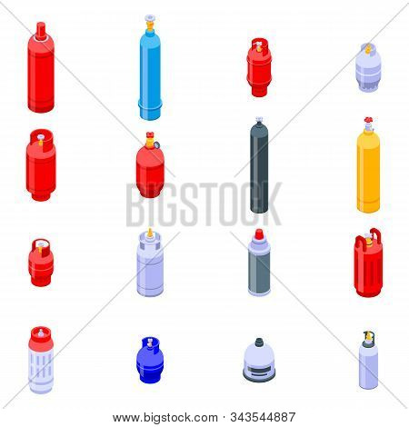 Gas Cylinders Icons Set. Isometric Set Of Gas Cylinders Vector Icons For Web Design Isolated On Whit