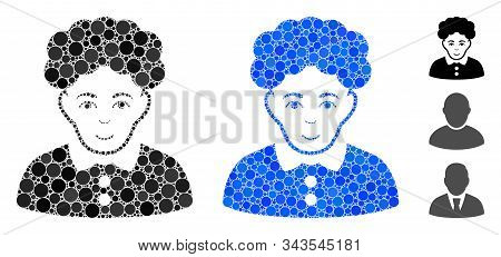 Brunette Woman Mosaic Of Filled Circles In Various Sizes And Color Tints, Based On Brunette Woman Ic