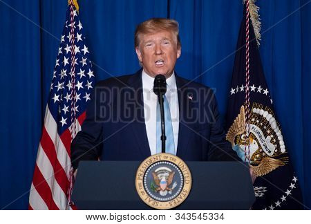 Washington Dc,united States,january 2020,united Sates President Donald Trump Speech In White House A