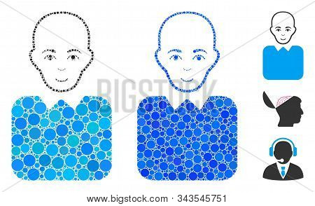 Bald Bureaucrat Mosaic Of Round Dots In Various Sizes And Color Tints, Based On Bald Bureaucrat Icon