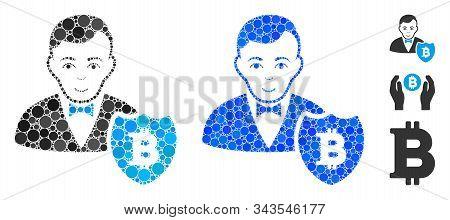 Bitcoin Protector Mosaic Of Small Circles In Variable Sizes And Shades, Based On Bitcoin Protector I