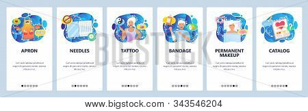 Beauty Salon And Spa, Tattoo And Permanent Makeup Studio, Needles. Mobile App Onboarding Screens. Me