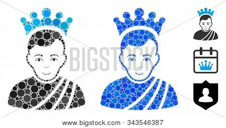 Emperor Mosaic Of Circle Elements In Various Sizes And Color Tints, Based On Emperor Icon. Vector Ro