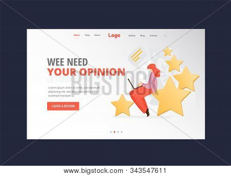 Feedback, Survey Vector Flat Landing Page Concept With People, Man And Woman Sitting On Big Rating S