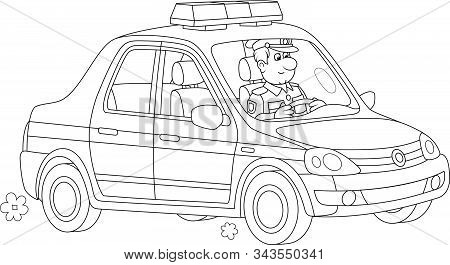 Police Car With A Traffic Policeman On-duty During Patrol, Black And White Vector Cartoon Illustrati