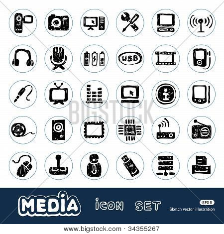 Media and social network web icons set