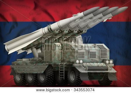 Tactical Short Range Ballistic Missile With Arctic Camouflage On The Lao People Democratic Republic