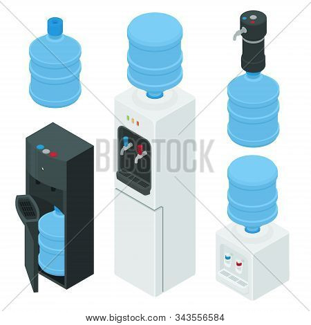 Cooler Water Icons Set. Isometric Set Of Cooler Water Vector Icons For Web Design Isolated On White