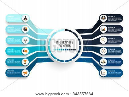 Vector Infographic Template With 3d Paper Label, Integrated Circles. Business Concept With 12 Option