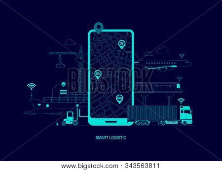 Concept Of Smart Logistics Services Technology, Tracking Application On Mobile Phone With Cargo Tran