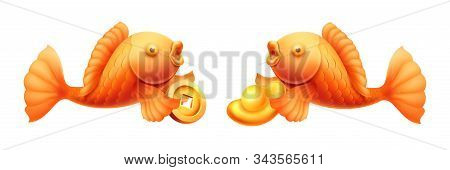 Fish With Golden Ingots And Coins. Dish For Cny Or 2020 Chinese New Year Eve. Surplus And Wealth Sig