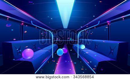 Party Bus Inside. Vector Cartoon Illustration Of Empty Limousine Nightclub Interior With Neon Disco