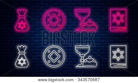Set Line Jewish Coin, Jewish Goblet And Hanukkah Sufganiyot, Jewish Money Bag With Star Of David And