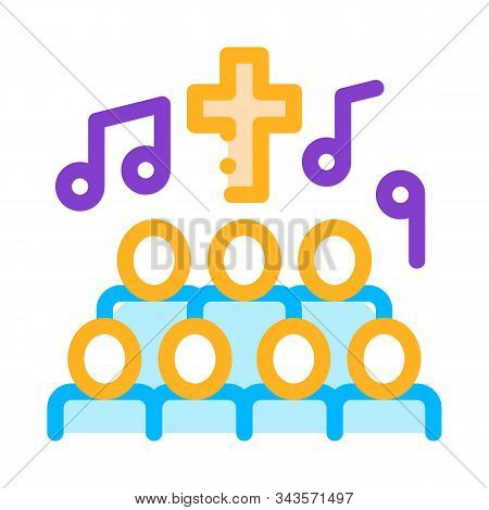 Church Choir Singing Song Concert Vector Icon Thin Line. Microphone And Dynamic, Concert And Theater