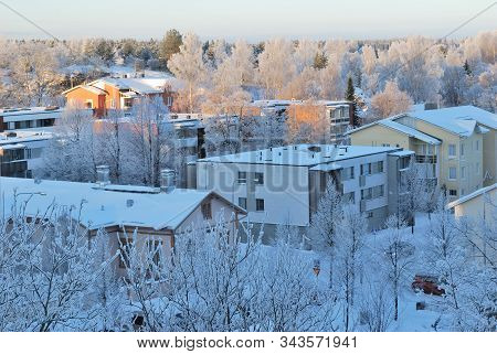 Finland.  Mikkeli In A Wonderful Cold Sunny Winter Evening