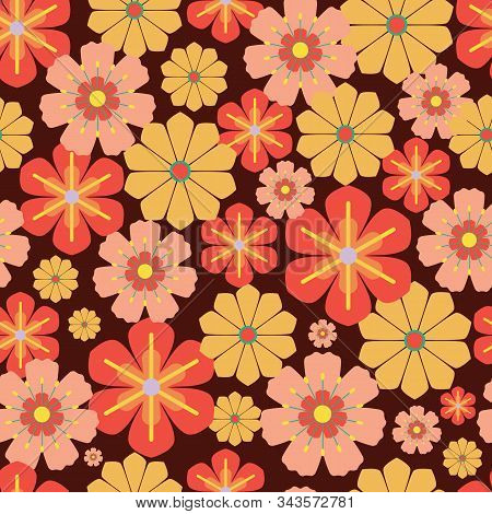Vector 60s, 70s Retro Vintage Flowers Seamless Pattern Background On Balck Surface