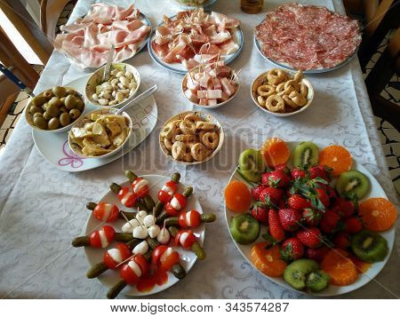 A Table Of Tipical Italian Mediterranean Diet Food Products