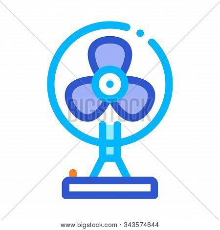 Portable Air Fan Cooling Equipment Vector Icon Thin Line. Cool And Humidity, Airing, Ionisation And