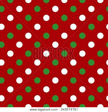 Simple Green White Circle On Red Seamless Pattern Abstract Background. Christmas Season, Birthday Ho